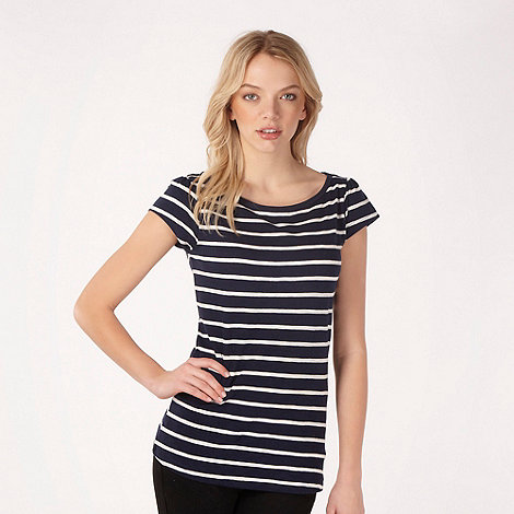 Red Herring - Navy textured striped t-shirt