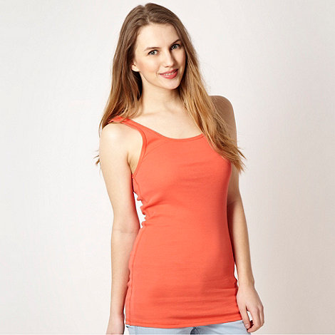 Red Herring - Orange plain ribbed vest