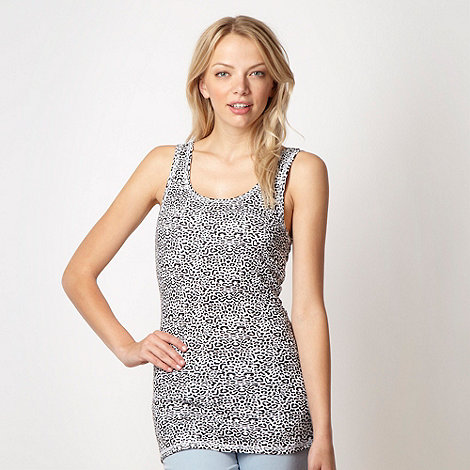 Red Herring - Black animal ribbed vest