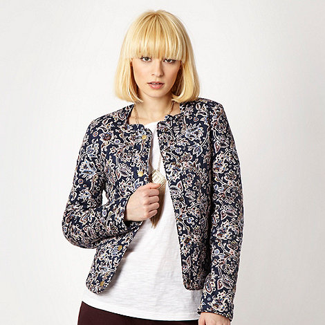 Red Herring - Navy printed quilted jacket