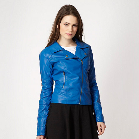 Red Herring - Royal blue faux leather biker jacket