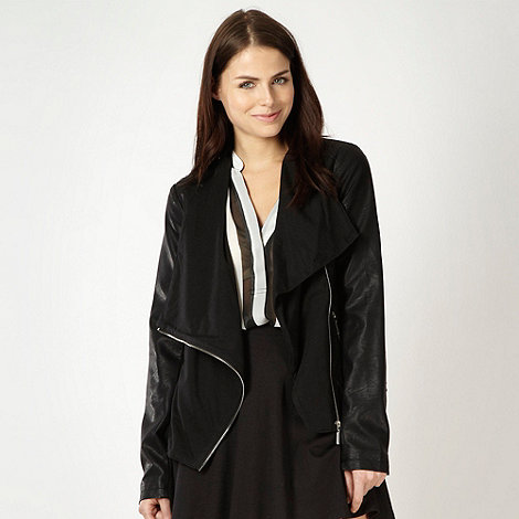 Red Herring - Black draped collar biker jacket