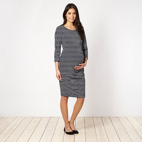 Red Herring Maternity - Online exclusive - Navy asymmetric striped maternity dress