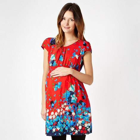Red Herring Maternity - Red floral maternity tunic top