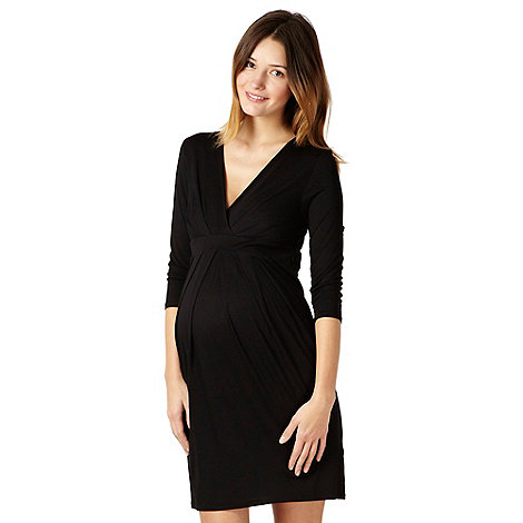 Red Herring Maternity - Black jersey tie back maternity dress