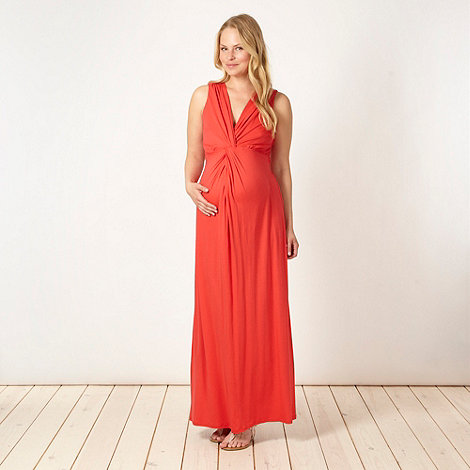 Red Herring Maternity - Dark orange jersey maternity maxi dress
