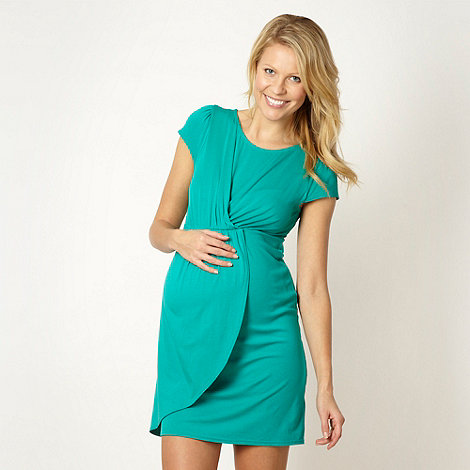 Red Herring Maternity - Green draped jersey maternity dress
