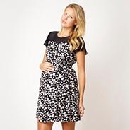 Navy bow print maternity dress