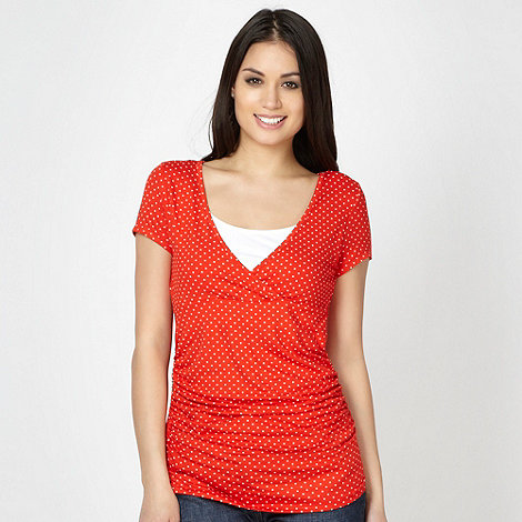 Red Herring Maternity - Red polka dotted jersey nursing top