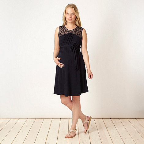 Red Herring Maternity - Navy embellished neck maternity dress