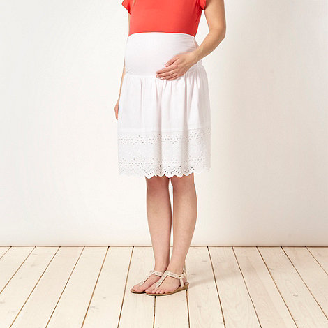 Red Herring Maternity - White cutwork maternity skirt