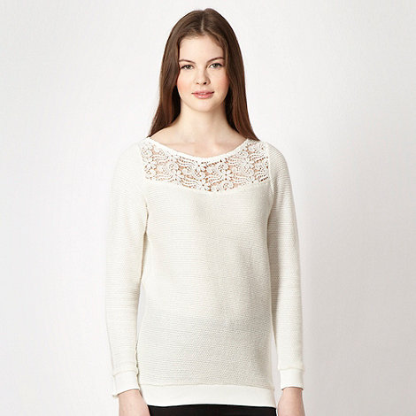 Red Herring - Cream crochet yoke sweater