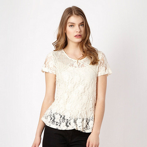 Red Herring - Ivory lace peplum top