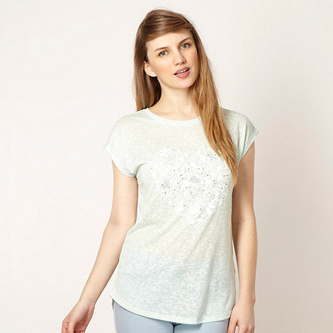 Red Herring - Light green studded floral heart t-shirt