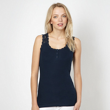 Red Herring - Navy lace insert vest