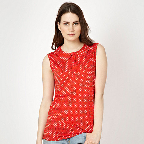Red Herring - Red polka dotted peter pan collar vest