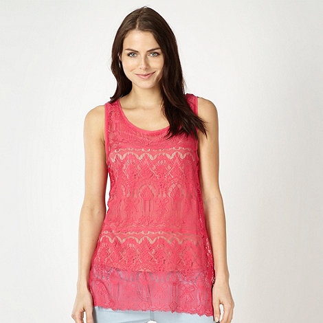 Red Herring - Pink lace vest top