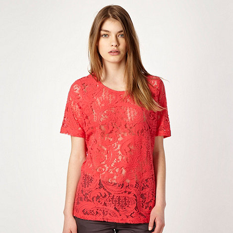 Red Herring - Bright pink brushed paisley lace top