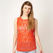 Orange brushed velvet lace top