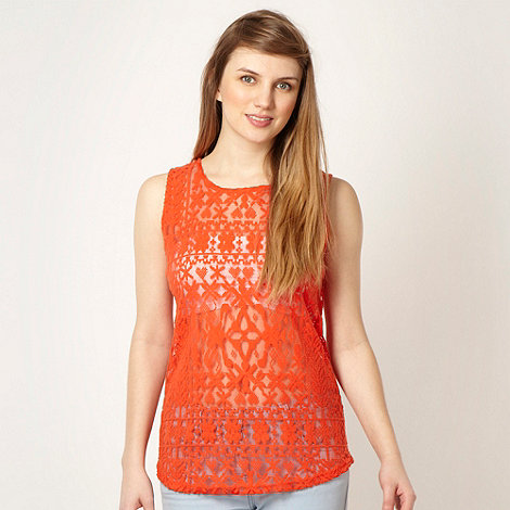 Red Herring - Orange brushed velvet lace top