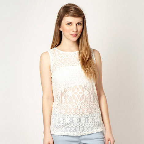 Red Herring - Ivory brushed velvet lace top