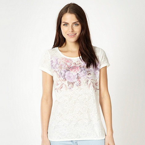 Red Herring - Ivory floral jacquard top
