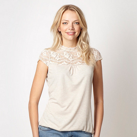 Red Herring - Dark cream lace panelled bubble top