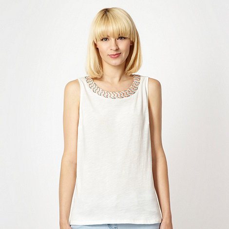 Red Herring - Ivory embellished neck vest top