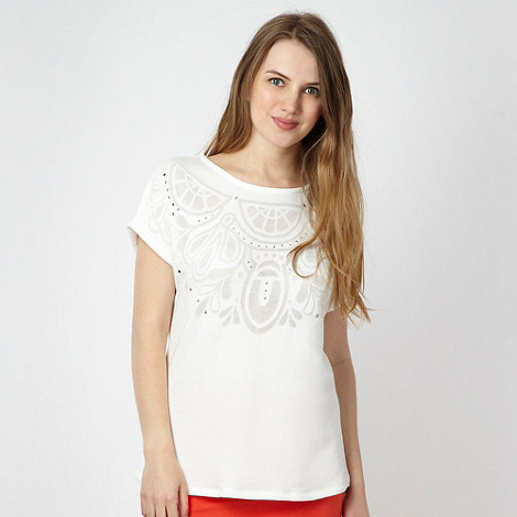 Red Herring - Ivory burnout short sleeved sweatshirt