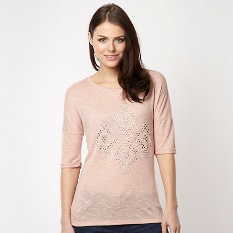 Red Herring - Light pink drop sleeve studded knit top