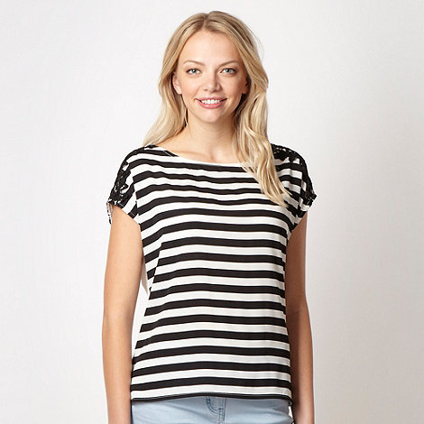 Red Herring - White striped lace trim top