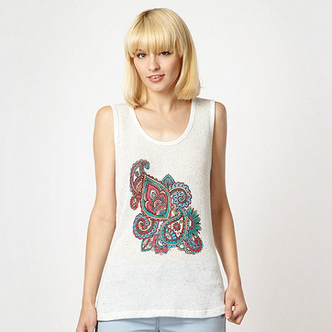 Red Herring - White paisley printed knitted vest top