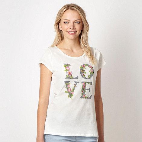 Red Herring - Cream +LOVE+ printed t-shirt