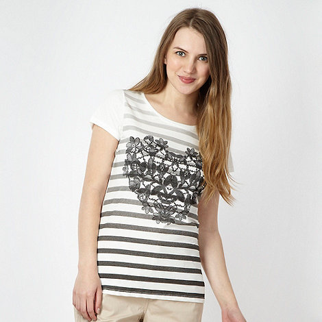 Red Herring - White striped and heart printed t-shirt