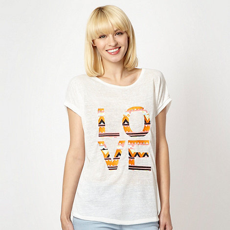 Red Herring - White embroidered +Love+ t-shirt