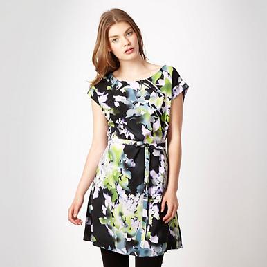 Tunika-Kleid im abstrakten Blumen-Look, schwarz