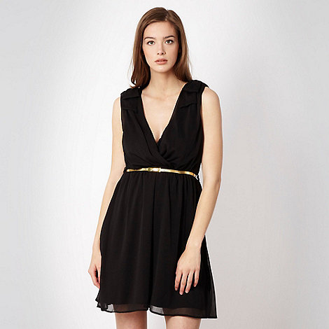 Kate Thomas - Black chiffon belted dress