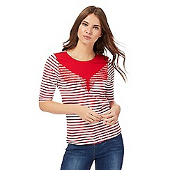 Red Herring - Red and white striped lace insert top
