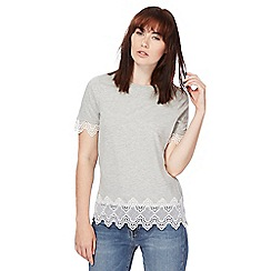 Red Herring - Grey lace scalloped top