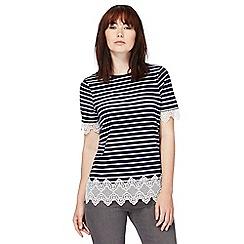 Red Herring - Navy striped lace hem t-shirt
