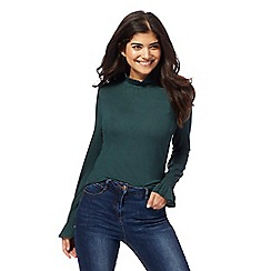 Red Herring - Dark green roll neck top