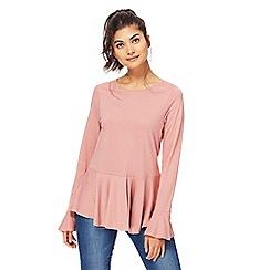 Red Herring - Pink long sleeves peplum top