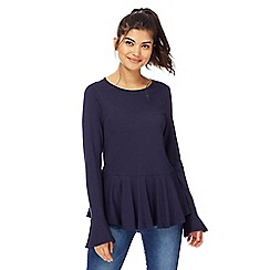Red Herring - Navy long sleeves peplum top