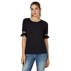 Red Herring - Black lace frill t-shirt