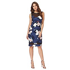 Red Herring - Multi-coloured floral print 'Jasmin Midnight Bloom' bodycon dress
