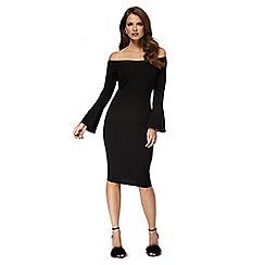 Red Herring - Black scuba 'Sarah' Bardot pencil dress