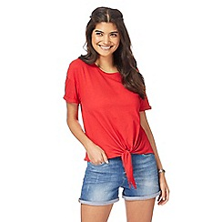 Red Herring - Red self-tie hem top
