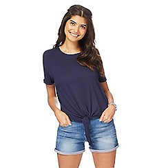 Red Herring - Navy self-tie hem top