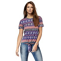 Red Herring - Multi-coloured tapestry stripe tie front top