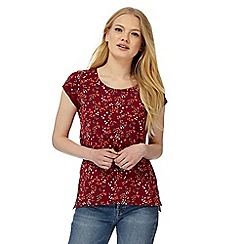 Red Herring - Dark red floral print t-shirt